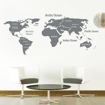 DIY World Map Wall Decal, Gray - contemporary - Wall Stickers - Colorful Wall Decals,INC.