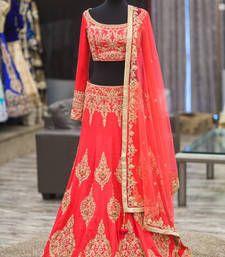 Buy Red bhagalpuri silk embroidered unstitched bridal-lehengas bridal-lehenga online