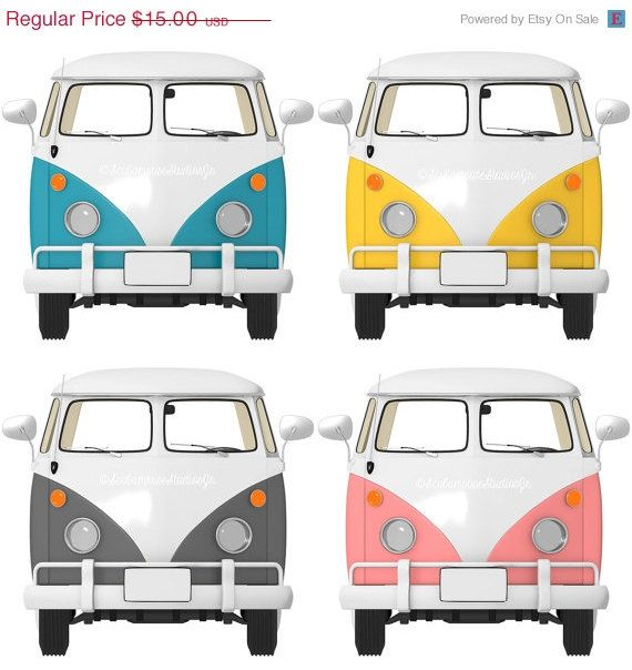 70% OFF THRU 6/13 Bus Clipart, transportation Clip Art, Retro vw van bus, Digital Clipart, vintage car graphic, commercial use, digital scra