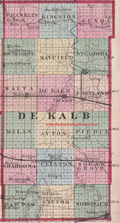 Illinois hancock county elvaston - Dekalb County Illinois 1870 Map Sycamore Sandwich Genoa Kingston Malta