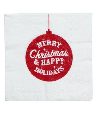 Weiß/Weihnachtskugeln. Dreilagige Papierservietten. 20 Stück. Größe 33x33 cm.