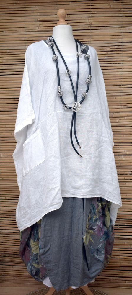 LAGENLOOK LINEN OVERSIZED BATWING 2 POCKETS LONG TUNIC/PONCHO**WHITE*XL-XXL-XXXL | Clothes, Shoes & Accessories, Women's Clothing, Tops & Shirts | eBay!
