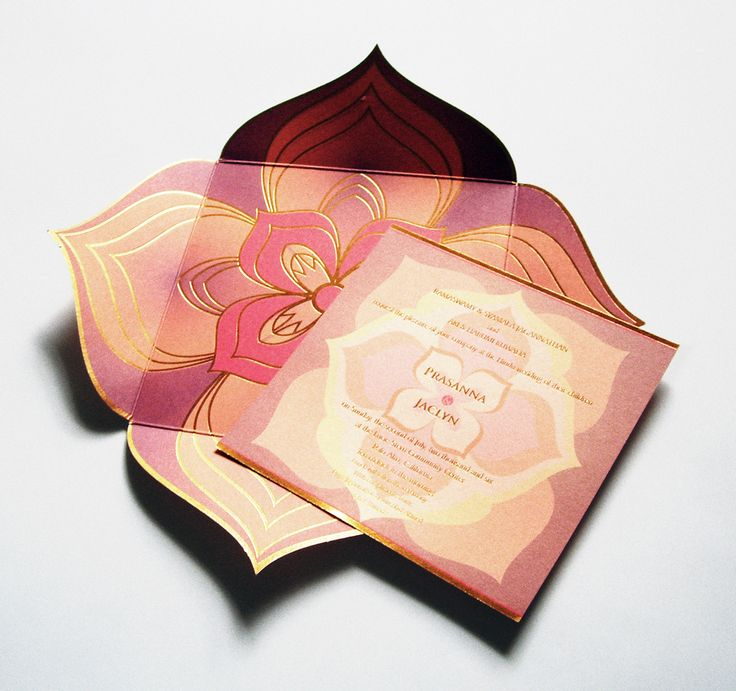 Lotus Wedding Invitation - Azure Couture Correspondence