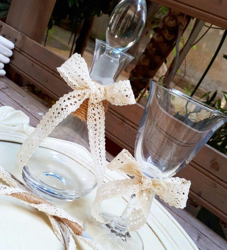 Σετ γάμου σετ κουμπάρου,καραφα γάμου ποτήρι γάμου σε vintage στυλ!καλέστε 2105157506