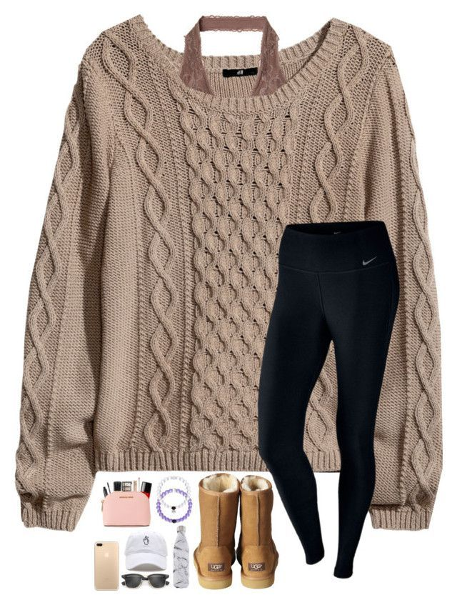 """""""Illuminate is perfection"""" by lovemyariana ❤ liked on Polyvore featuring H&M, UGG Australia, NARS Cosmetics, Urban Decay, MAC Cosmetics, MICHAEL Michael Kors, NIKE, S'well and Ray-Ban"""