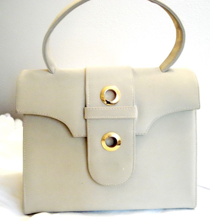 Iconic CORET retro Mod Kelly Handbag Bag Vegan Neutral Dove Grey Lunch Box Purse Top Handle Belted Gold Rings Fashion Gift Pristine by MushkaVintage3 on Etsy