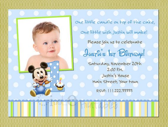 Baby Mickey Mouse Birthday Invitation Ideas For Conners First B
