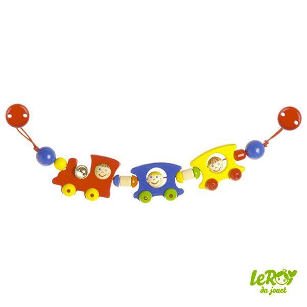 Décoration de poussette en bois, train, locomotive, wagon, personnage, grelot, dès la naissance, bébé Leroy du jouet