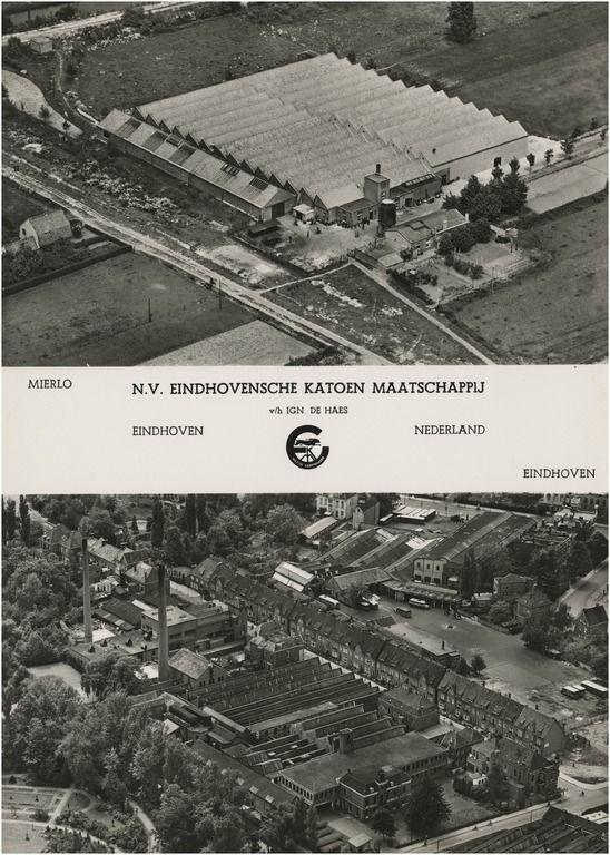 luchtfoto van het complex van de N.V. Eindhovensche Katoen Maatschappij v/h Ign. de Haes aan de Dommelstraat, met de Dommelstraat en gebouwen aan Vestdijk; idem van het complex van hetzelfde bedrijf te Mierlo; in het midden tussen de foto's het wettig gedeponeerde fabrieksmer