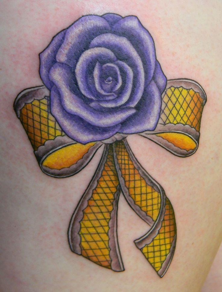 Purple rose tattoo yellow ribbon lace .Bohemian Tattoo Fortuna CA near Eureka CA. Www.bohemiantattoo.com