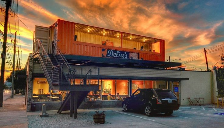 Southern Restaurants Go Green With Shipping Containers Delia's Chicken Sausage Stand in Atlanta