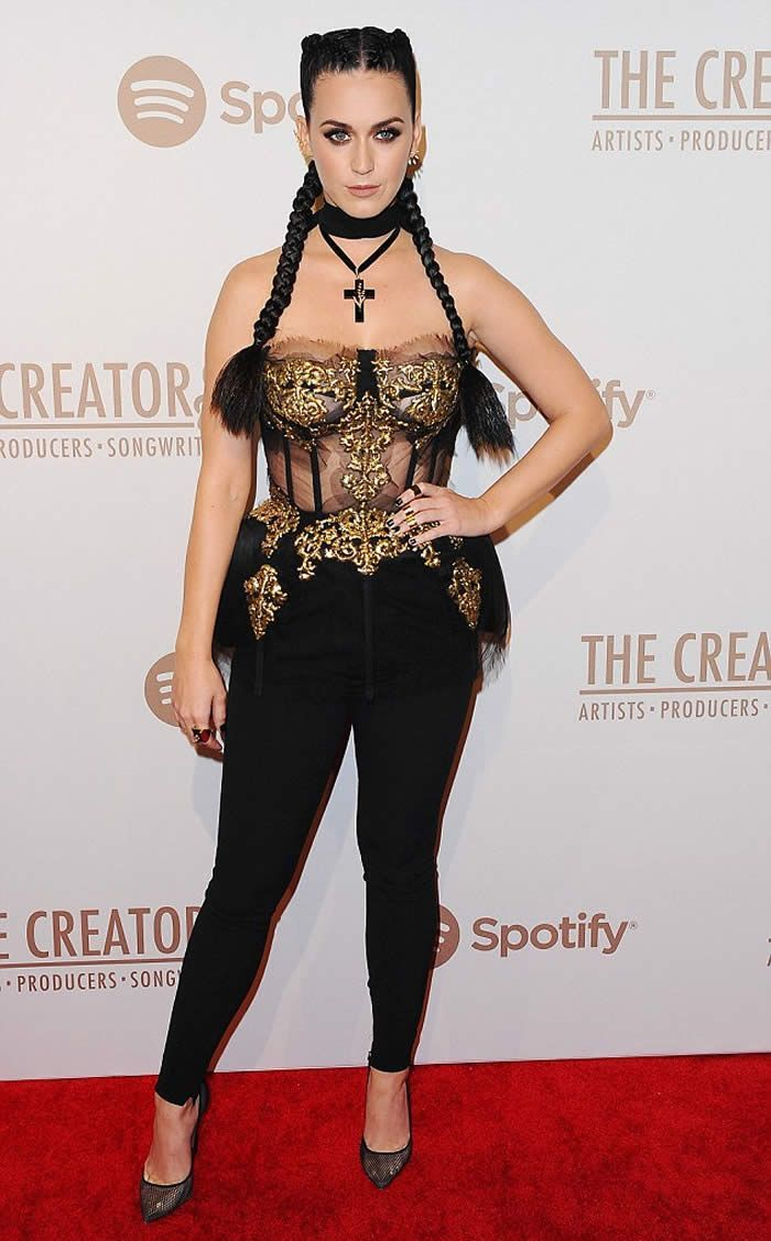 42267a556f Katy Perry puts on a very busty display in sheer corset at pre ...