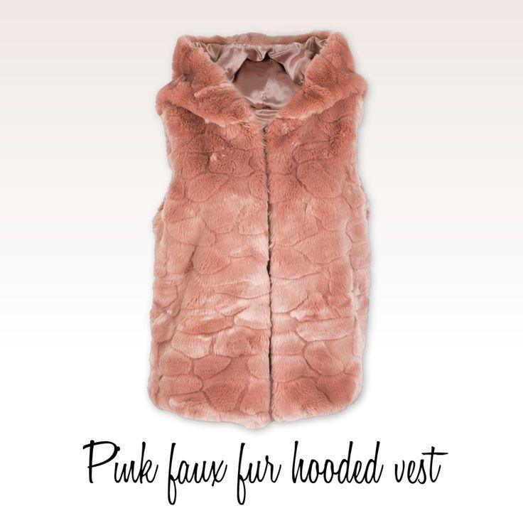 Achilleas accessories | Pink faux fur hooded vest