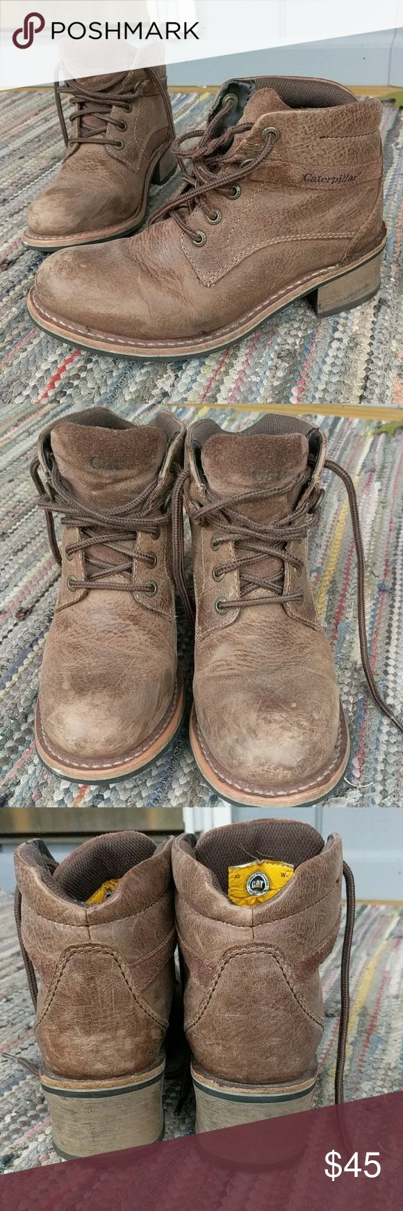 Caterpillar boots Brown leather boots.  Sturdy enough for work boots, but also very cool with jeans. Deep treads, so excellent winter boots. Warn and loved, but still in great condition. Normal wear evident. Caterpillar Shoes Combat & Moto Boots
