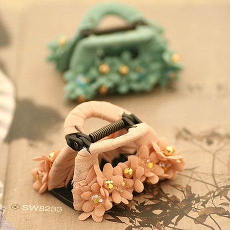 High Quality Summer Handmade Chiffon Orchid Flower With Crystal Beads Tiny Hair Claw For Women