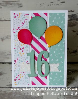 Large Number Framelits, It's My Party DSP, Ballon Bouquet punch, Dazzling Diamonds Glimmer Paper