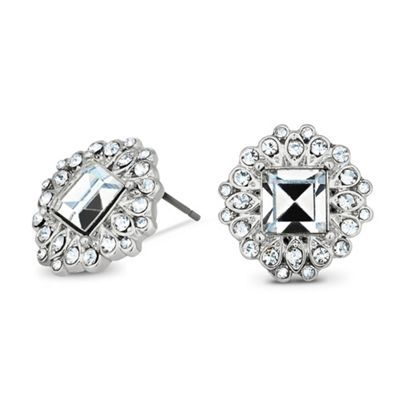 Square crystal surround stud earring at debenhams.com