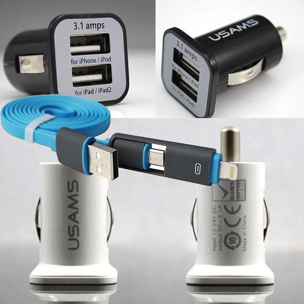 2-1 cable de datos micro auto 3.1a cargador de coche para sony xperia z3 compact Z4 Z5 Z2 Z1 Compacto M4 Qqua y Otros Teléfonos USB Coche cargador