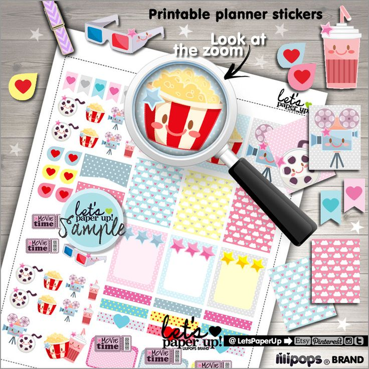 60%OFF - Movie Stickers, Printable Planner Stickers, Movie Time Stickers, Functional Stickers, Planner Accessories, Weekly Stickers