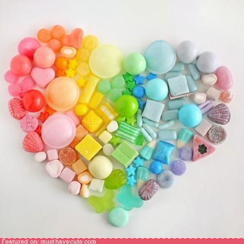I love hearts: Candy Colors, Buttons Crafts, Colors Candy, Rainbows Candy, Rainbows Heart, Valentines Day, Colors Wheels, Candy Heart, Rainbows Stuff