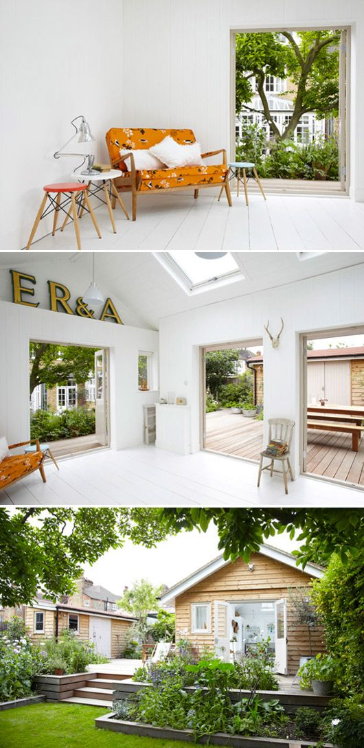 I love the combination of cabin, deck, container gardens and yard here