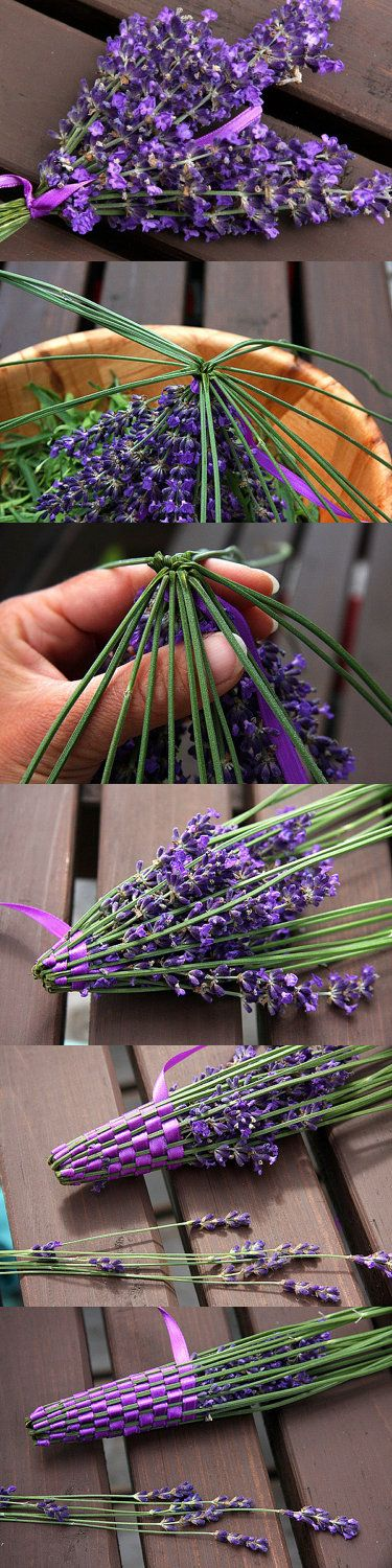 Organic French Lavender Wand - Woven from Freshly Picked Flowers - Purple with Light Green Satin Ribbon