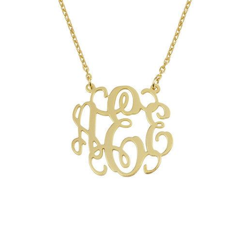 1 inch monogram necklace plated 18k gold,custom any name you like