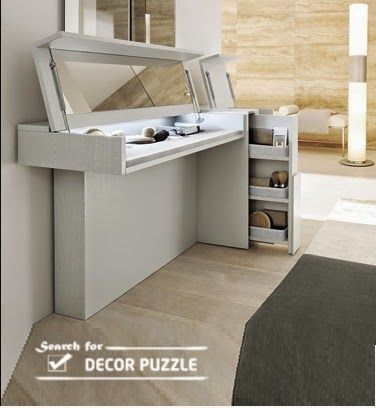 modern white dressing table with folding mirror for bedroom corner