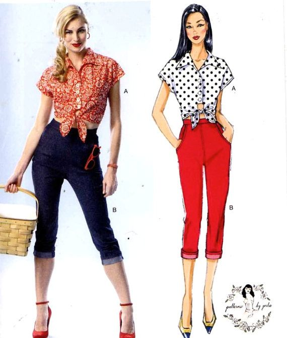 top and jeans 50s style crop top and capri jeans sewing pattern patterns by gertie 150th. Black Bedroom Furniture Sets. Home Design Ideas