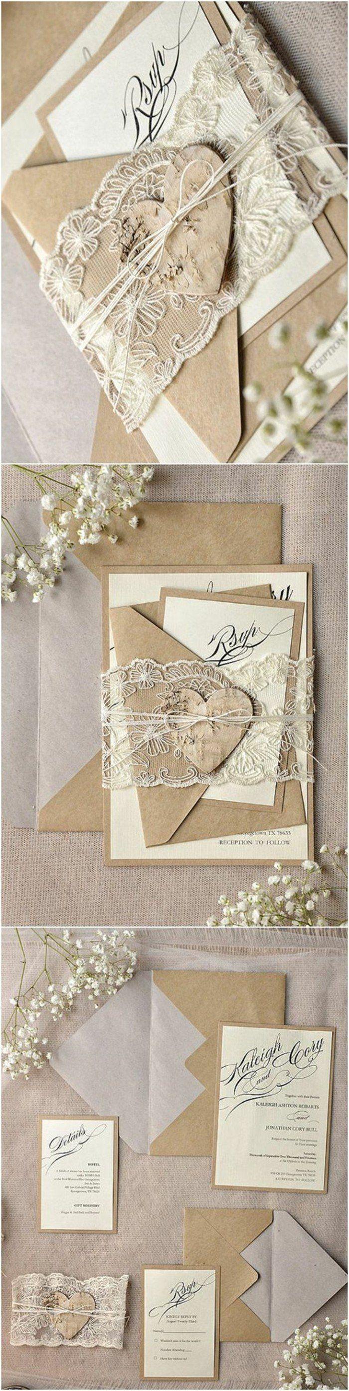 faire-part de mariage original personnalise en papier beige, dentelle fait de découpage et fleurs champetres séchés