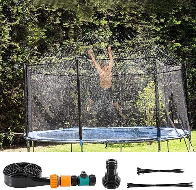 Fostoy Trampolin Sprinkler Fur Kinder 12m Summer Outdoor Sprinkler Wasserpark Spielzeug Trampolin In 2020 Outdoor Im Freien Trampolin
