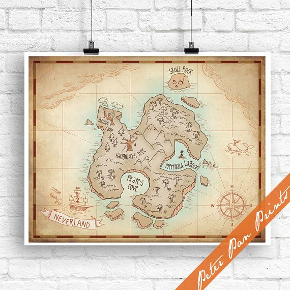 Neverland Map - Peter Pan Inspired Art Print (Unframed) (featured in Treasure Map) Peter Pan Prints