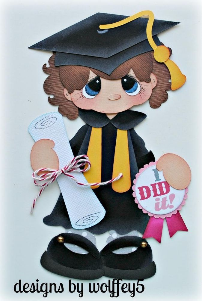 ELITE4U GIRL GRAD  paper piecing premade scrapbook page die cut album  WOLFFEY5