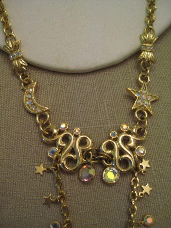 VTG UnWorn Kirk Folly AB Rhinestones Stars Moons Swirls Beads Fairy Angel Pendant Gold Chain Necklace Shorten Lengthen 2 Lobster Claw Clasps