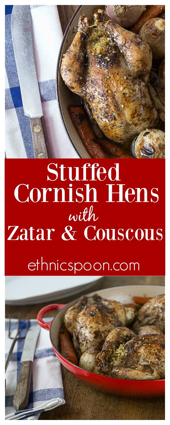 You will love this simple and delicious dish! Tender and delicious cornish hens seasoned with zatar and stuffed with couscous, dates, onions and parsley. So easy to make, roast right in your oven! | ethnicspoon.com