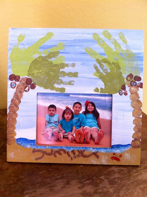 Father's Day Handprint / Footprint Beach and Palm Trees Picture Frame - Custom, Personalized, DIY Hand Painted Art