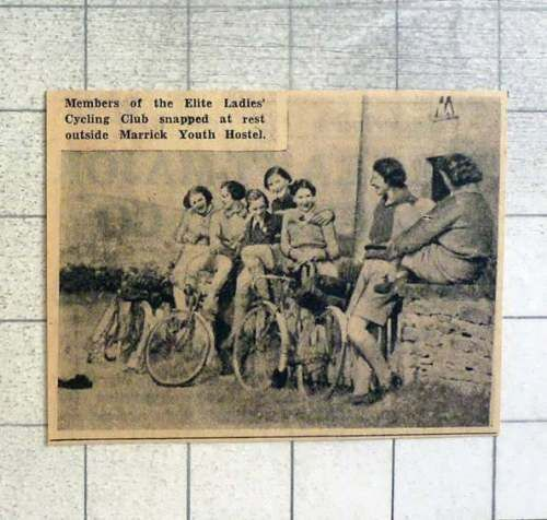 1939-Elite-Ladies-Cycling-Club-Resting-Outside-Marrick-Youth-Hostel