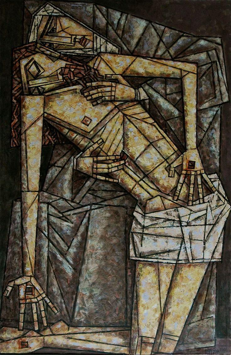 ПЬЕТА - Картина, 100x150 cm ©2015 - DMITRIY TRUBIN - Абстрактное искусство, Религия, библия, религия, бог, иисус, христос, картина иисуса, пьета, дмитрий трубин, современная живопись, художники современные