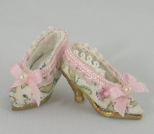 Pink Floral Pumps Miniature Shoes