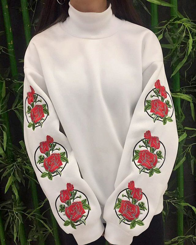 white sweatshirt with sleeve rose embroidery boogzel apparel