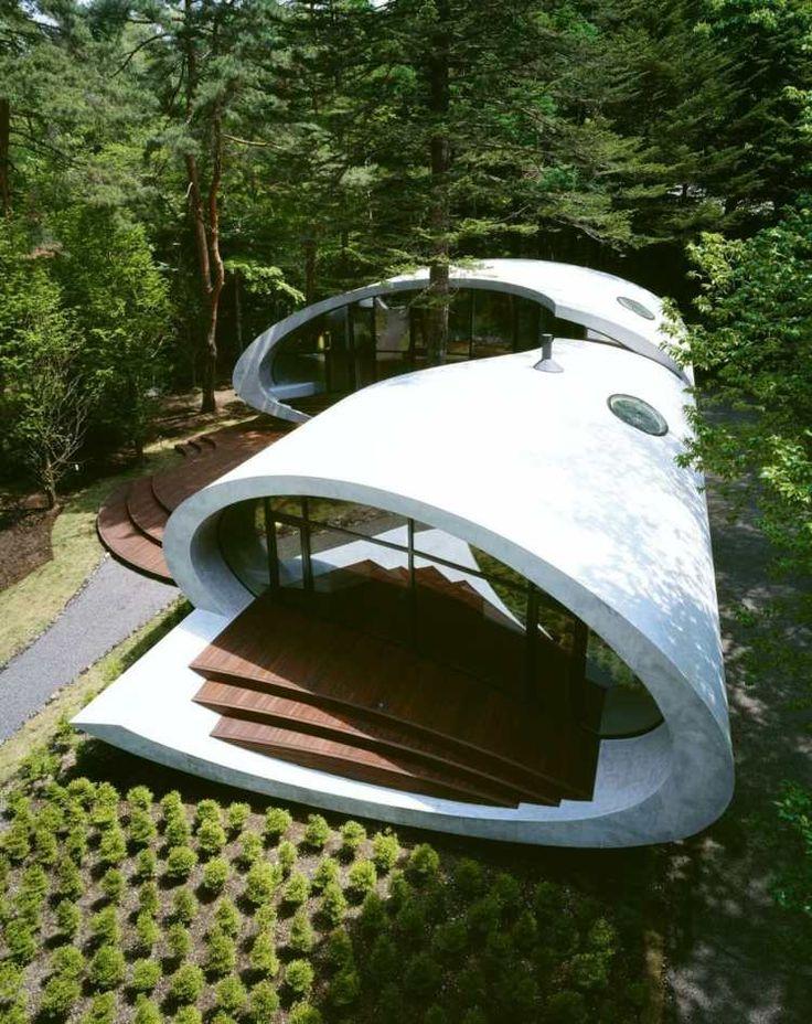 Puits de lumière et parement bois & béton d'une maison organique