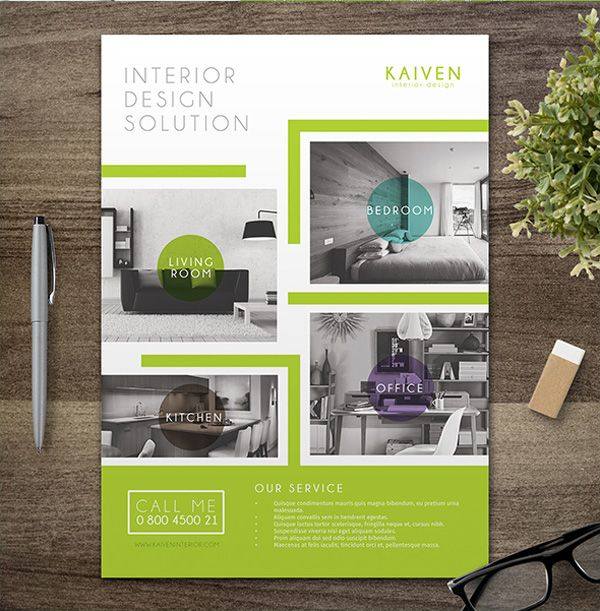 Interior Design Flyer Interesting Aspect With Titles Low Opacity Coloured Circles Outlining