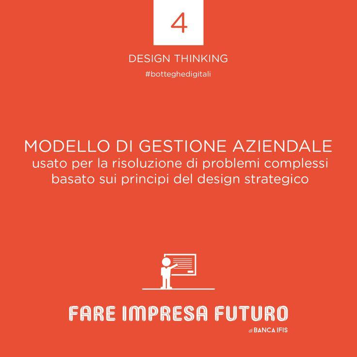 Il #designthinking è un modello di gestione aziendale usato per la risoluzione di problemi complessi basato sui principi del design strategico