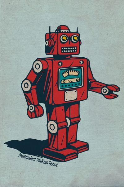 Mechanical Walking Robot Art Print