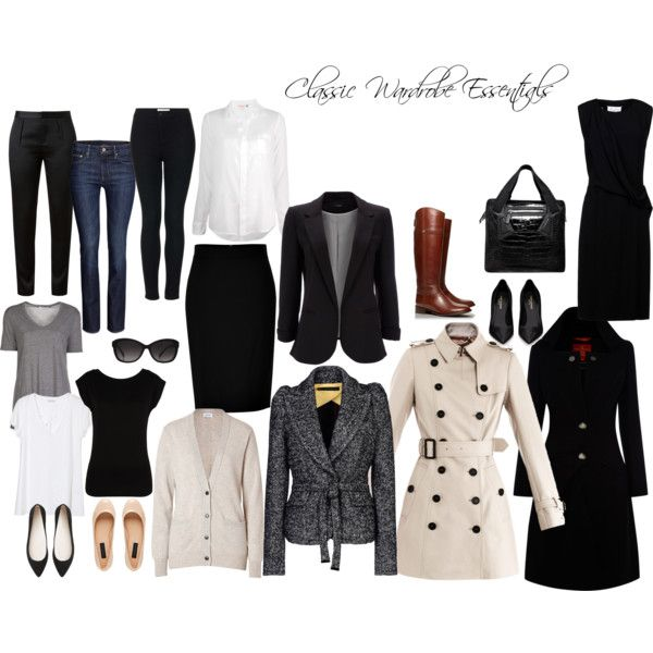 Classic Wardrobe Essentials by omeriana on Polyvore featuring Maison Margiela, Closed, Sundry, LIU•JO, American Vintage, T By Alexander Wang, Burberry, Vivienne Westwood Red Label, Dsquared2 and Wallis