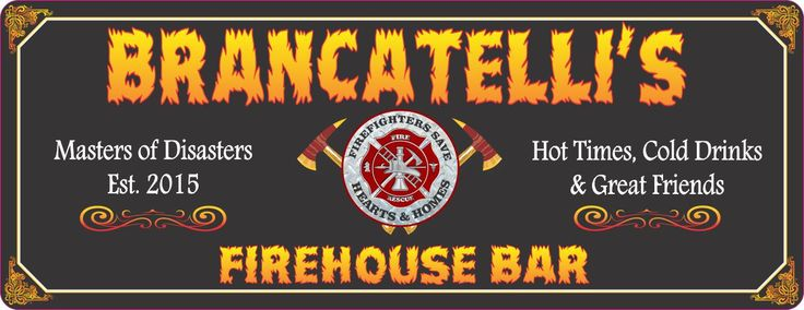 Firehouse Bar Personalized Sign in Black with Established Date, Firefighter Emblem and Flame Font