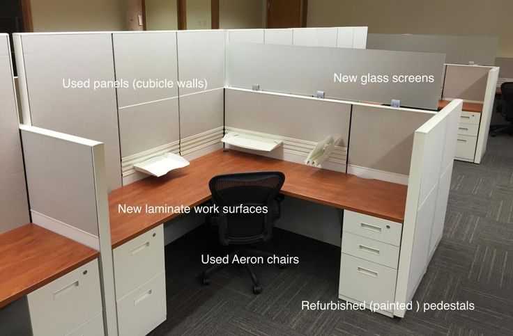 Blended office cubicles with new & used components.  Save money without sacrificing style. Mix used panels, repainted lower drawer cabinets, new work tops and new glass to make a stunning workstation at half the cost. Many finishes and sizes available.