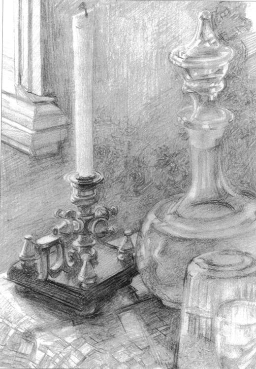 Михаил Врубель - Подсвечник, графин, стакан. 1905