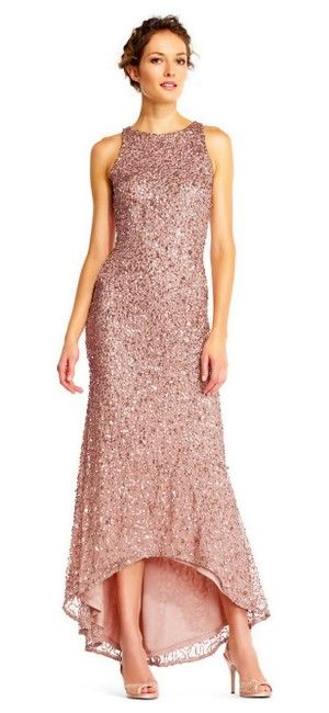 d8c8cc842f Adrianna Papell Rose Gold Women s Sleeveless Beaded Halter Gown Long Formal  Dress Size 6 (S
