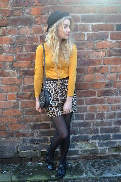 mustard long sleeve + leopard print tulip skirt